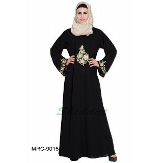 A-line embroidered abaya- Black