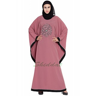 Embroidered Kaftan abaya- Puce Pink