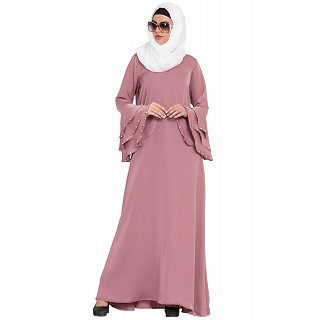 A-line Nida abaya- Puce Pink