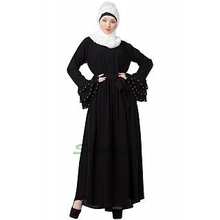 Designer Black Pleated abaya