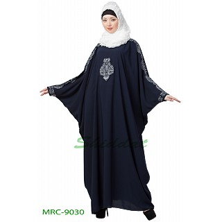 Kaftan abaya with Embroidery work - Navy Blue