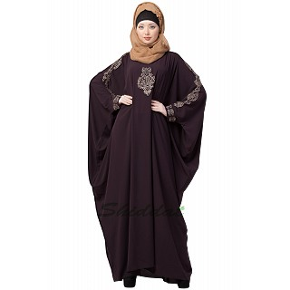 Kaftan abaya with Embroidery work - Coffee Brown