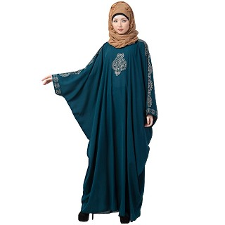 Kaftan abaya with Embroidery work - Midnight Blue