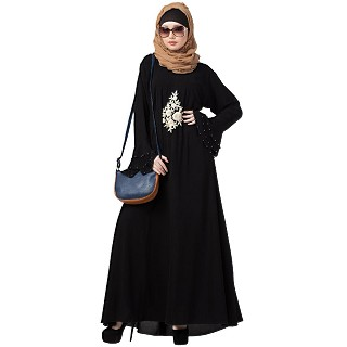 A-line Embroidered abaya with bell sleeves- Black