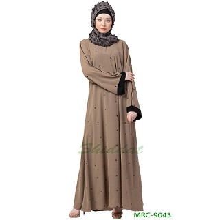 A-line dotted abaya- Beige color