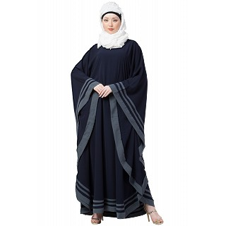 Kaftan abaya with designer border- Navy Blue