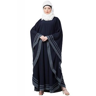 09827a8131779 Kaftan abaya with designer border- Navy Blue