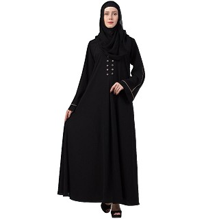 Casual abaya with piping work-Black