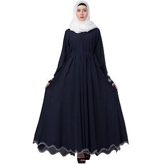 Embroidery abaya with Designer border at bottom- Navy Blue