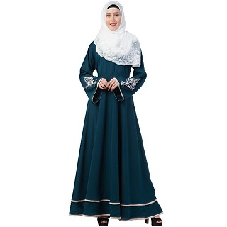 Embroidery Abaya with Designer Border at Bottom- Midnight Blue