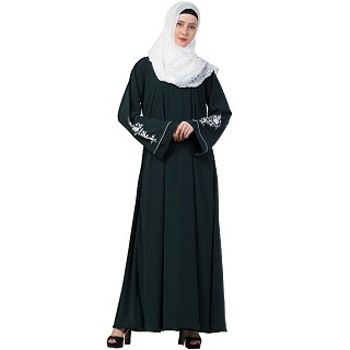 A-line Abaya with Embroidery work on sleeves- Bottle Green