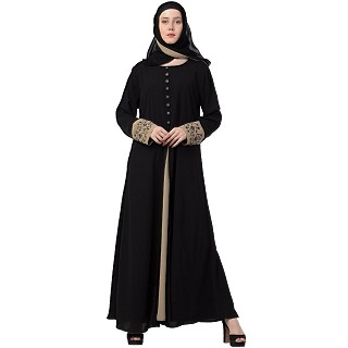 Double Layered Abaya with Embroidery work on Sleeves- Black-Beige