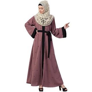 Front open Dubai abaya- Puce Pink