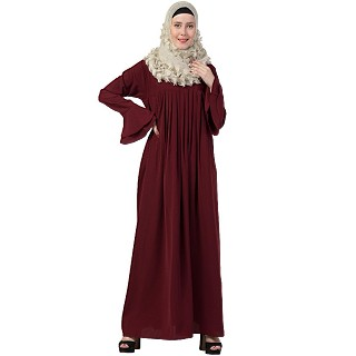 Designer pleated abaya with bell sleeves- Maroon