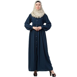 Front open abaya with cuff sleeves- Blue