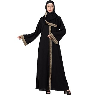 Front open embroidery abaya- Beige