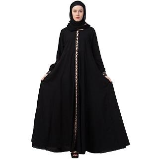 Designer Umbrella cut abaya with cuff sleeves- Black
