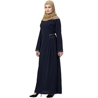 A-line designer abaya- Navy Blue