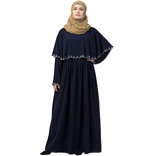Embroidered Cape abaya- Navy Blue