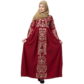 Premium abaya with Golden Embroidery work- Red