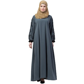 A-line abaya with embroidery work on sleeves- Grey