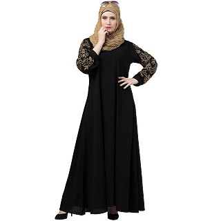 A-line abaya with embroidery work on sleeves- Black