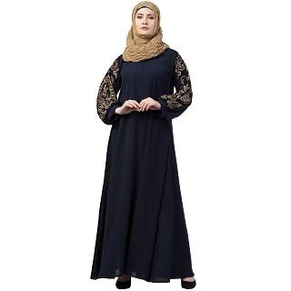 A-line abaya with embroidery work on sleeves- Navy Blue