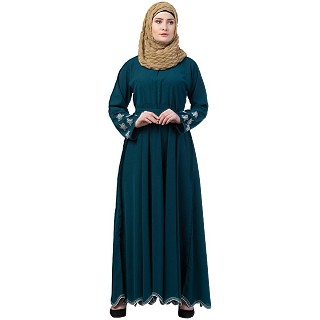 Embroidery abaya with Designer border at bottom- Teal Green