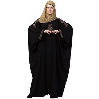 Kaftan abaya with Embroidery work - Black-Golden