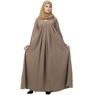 Pintuck abaya with V shape neck-Khakee
