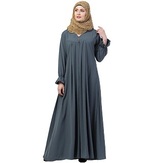 Pintuck abaya with V shape neck-Grey