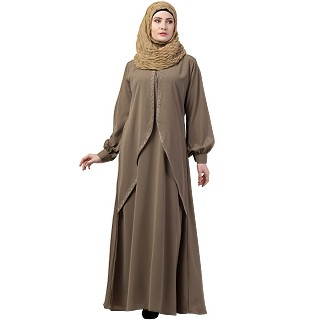 Designer double layered abaya with cuff sleeves- Beige