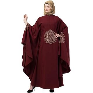 Irani style Kaftan abaya with Embroidery work-Maroon