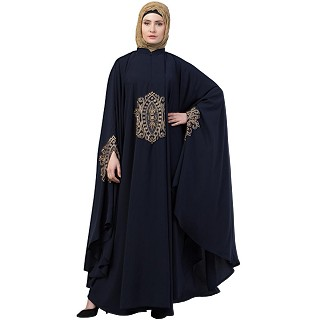 Irani style Kaftan abaya with Embroidery work- Navy blue