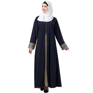 Double layered abaya with embroidery work on sleeves- Navy blue-Beige