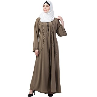 Double layered abaya with embroidery work-Beige-black