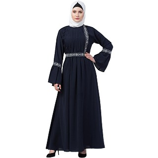 Embroidered Pintuck abaya- Navy Blue