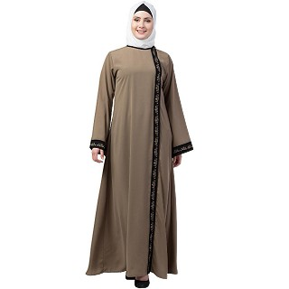 Front open abaya with embroidery work- Beige-black