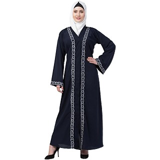 Navy blue Front open embroidery abaya
