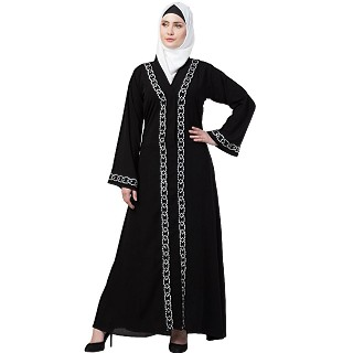 Black Front open embroidery abaya
