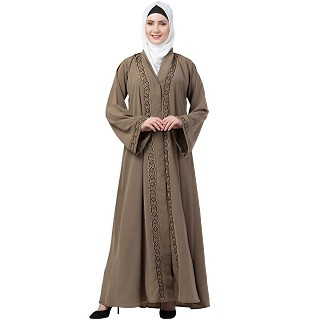Beige Front open embroidery abaya