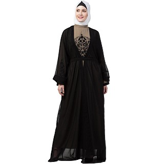 Double layered embroidery Dubai abaya
