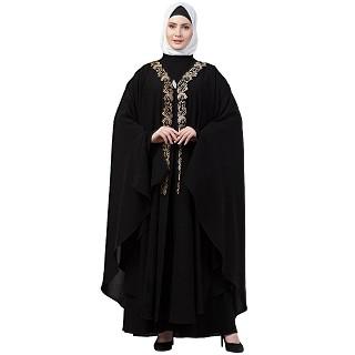 Double layered Irani Kaftan abaya- Black