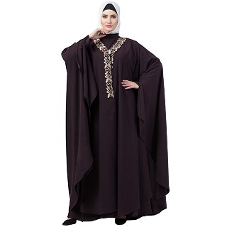 Double layered Irani Kaftan abaya- Chocolate brown