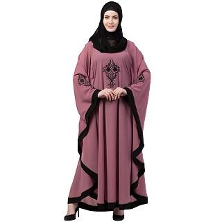 Embroidered designer Kaftan abaya- Puce Pink