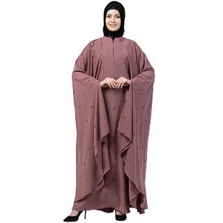Designer Irani Kaftan abaya- Puce Pink