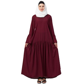 Casual abaya with bell sleeves- Wine color