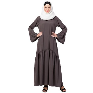 Casual abaya with bell sleeves- Ash Grey