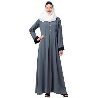 Casual abaya with piping work- Grey