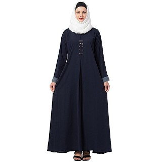 Casual abaya with piping work- Navy Blue